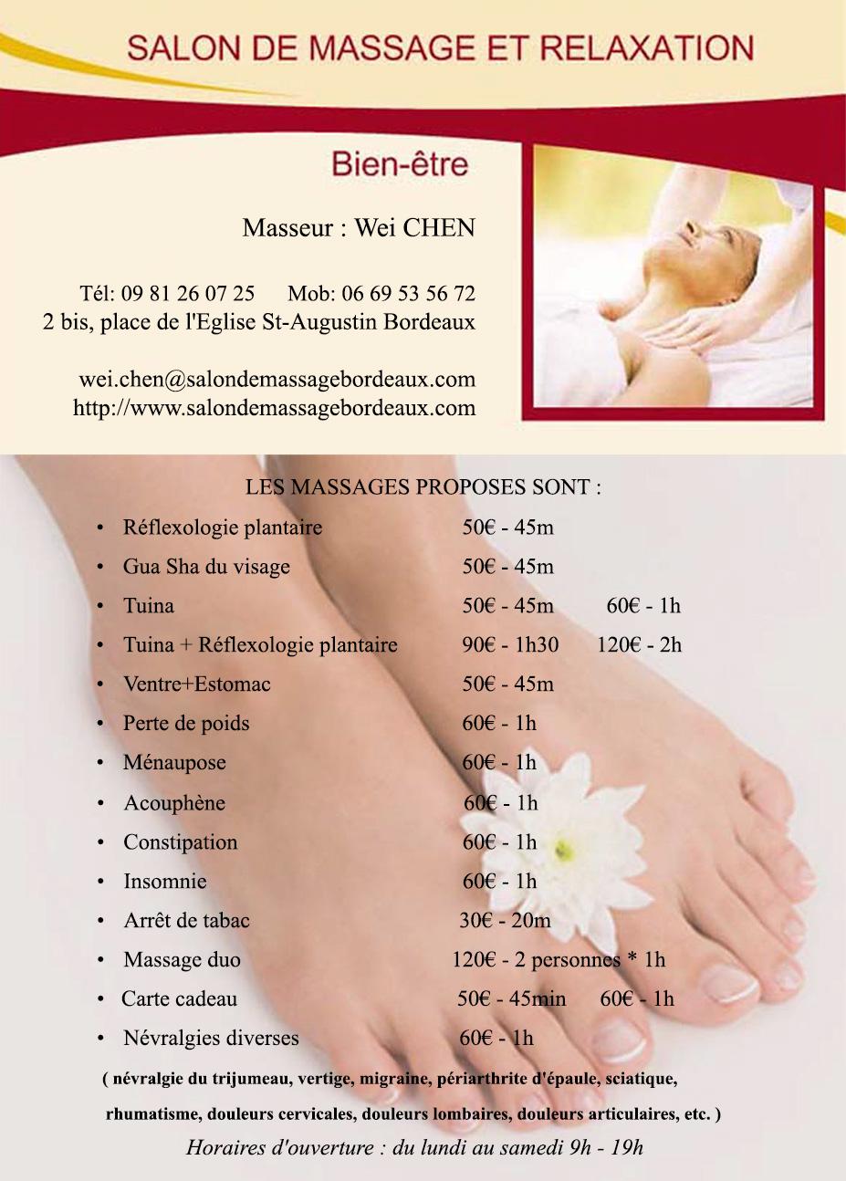 Salon de massage et relaxation chinois bordeaux tarifs - Salon de massage pour couple ...